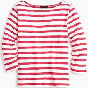 Jcrew Red & White Striped Boatneck Shirt, M